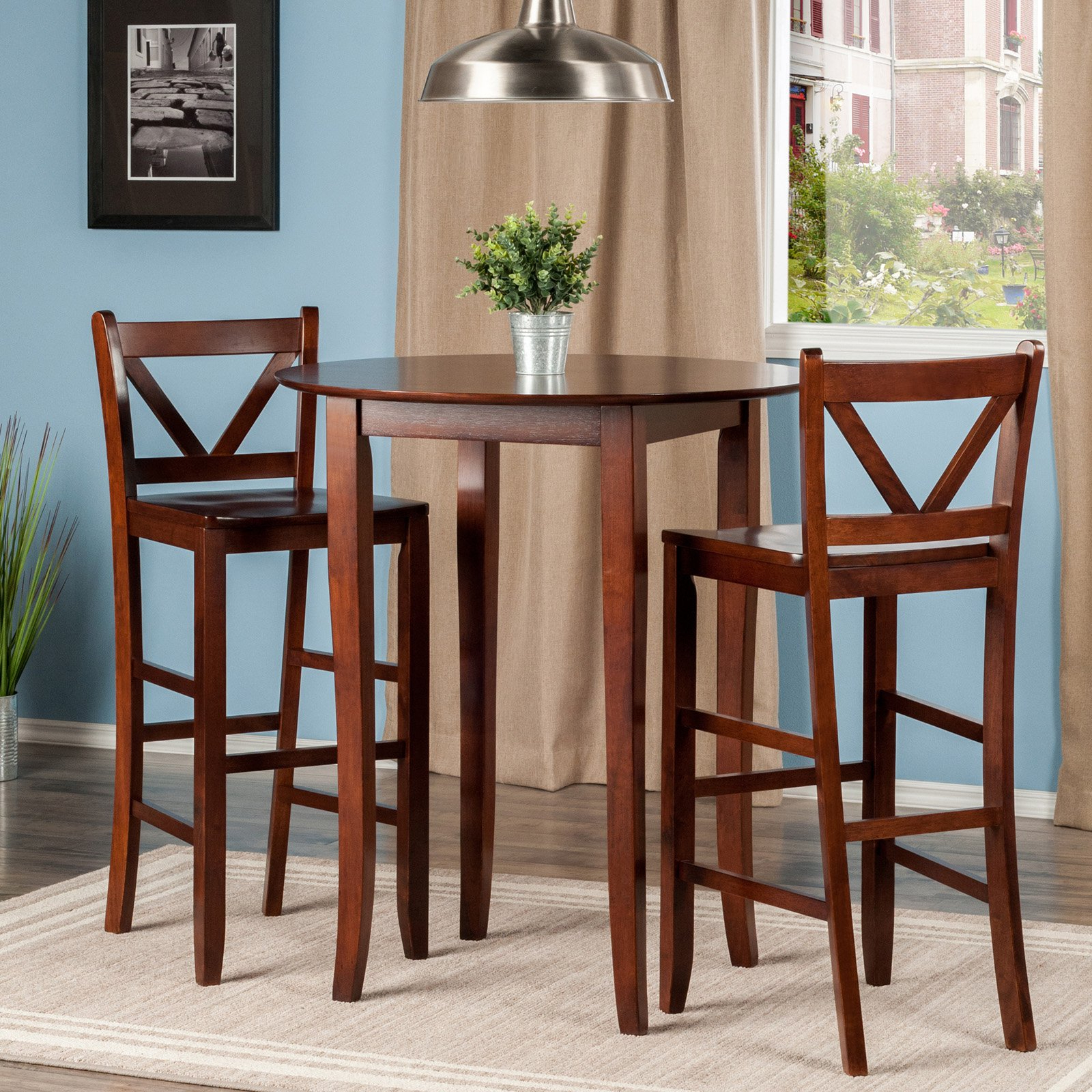 Winsome Trading Fiona 3 Piece Counter Height Round Dining Table Set Intended For Well Liked Winsome 3 Piece Counter Height Dining Sets (View 9 of 20)