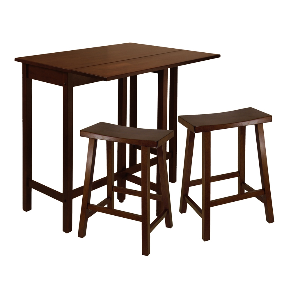 Winsome Wood Lynnwood Three Piece High Drop Leaf Table Dining Set Throughout Best And Newest Winsome 3 Piece Counter Height Dining Sets (View 8 of 20)