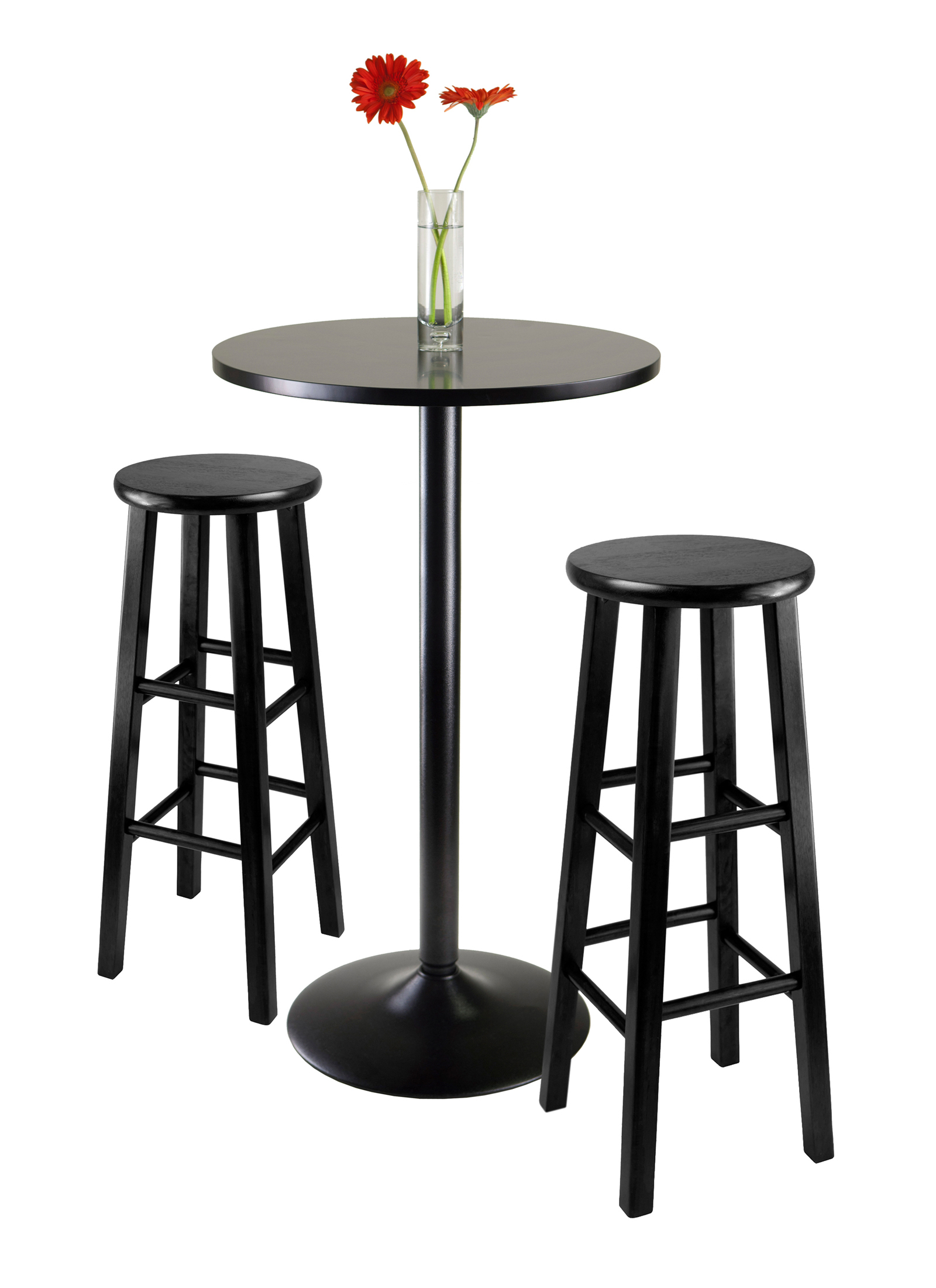 Winsome Wood Obsidian 3 Piece Round Black Pub Table Set Throughout Fashionable Winsome 3 Piece Counter Height Dining Sets (View 19 of 20)