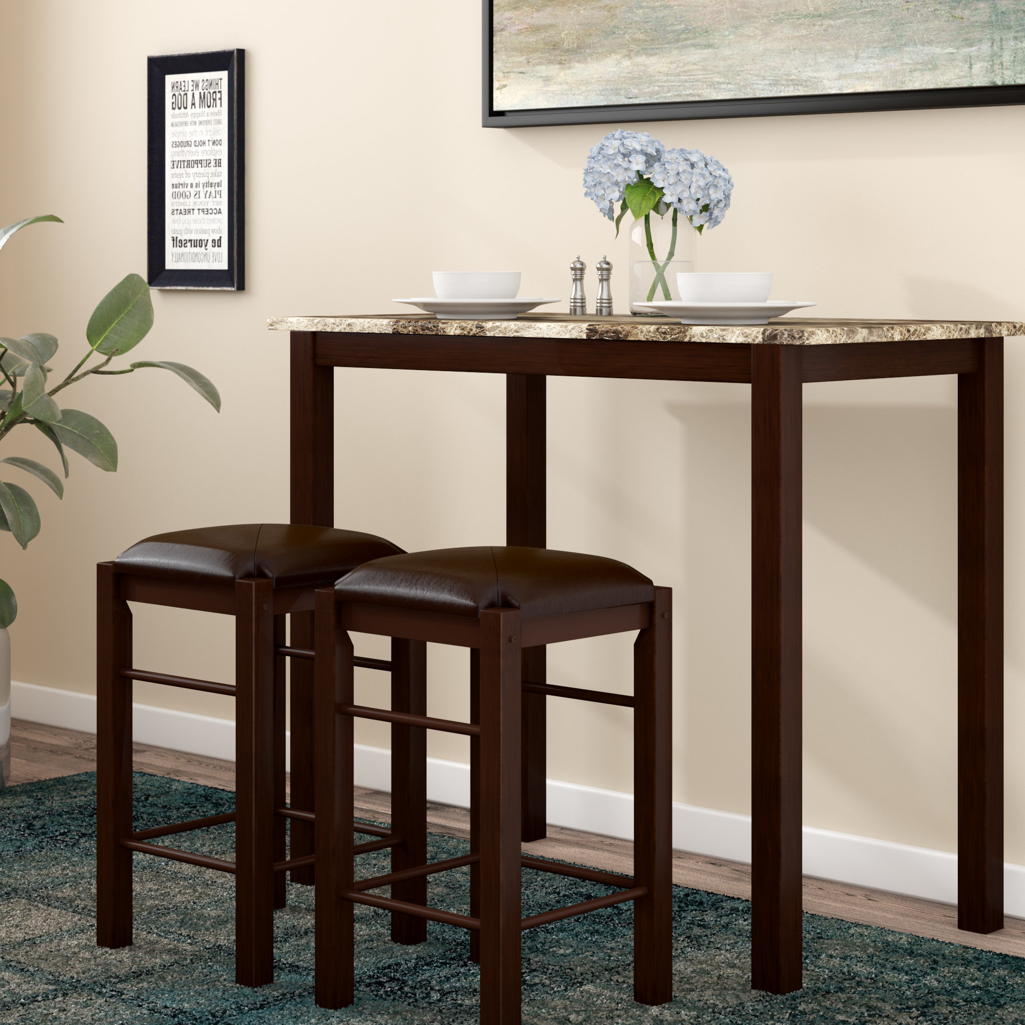 Winston Porter Penelope 3 Piece Counter Height Wood Dining Set Intended For Fashionable Askern 3 Piece Counter Height Dining Sets (Set Of 3) (View 20 of 20)