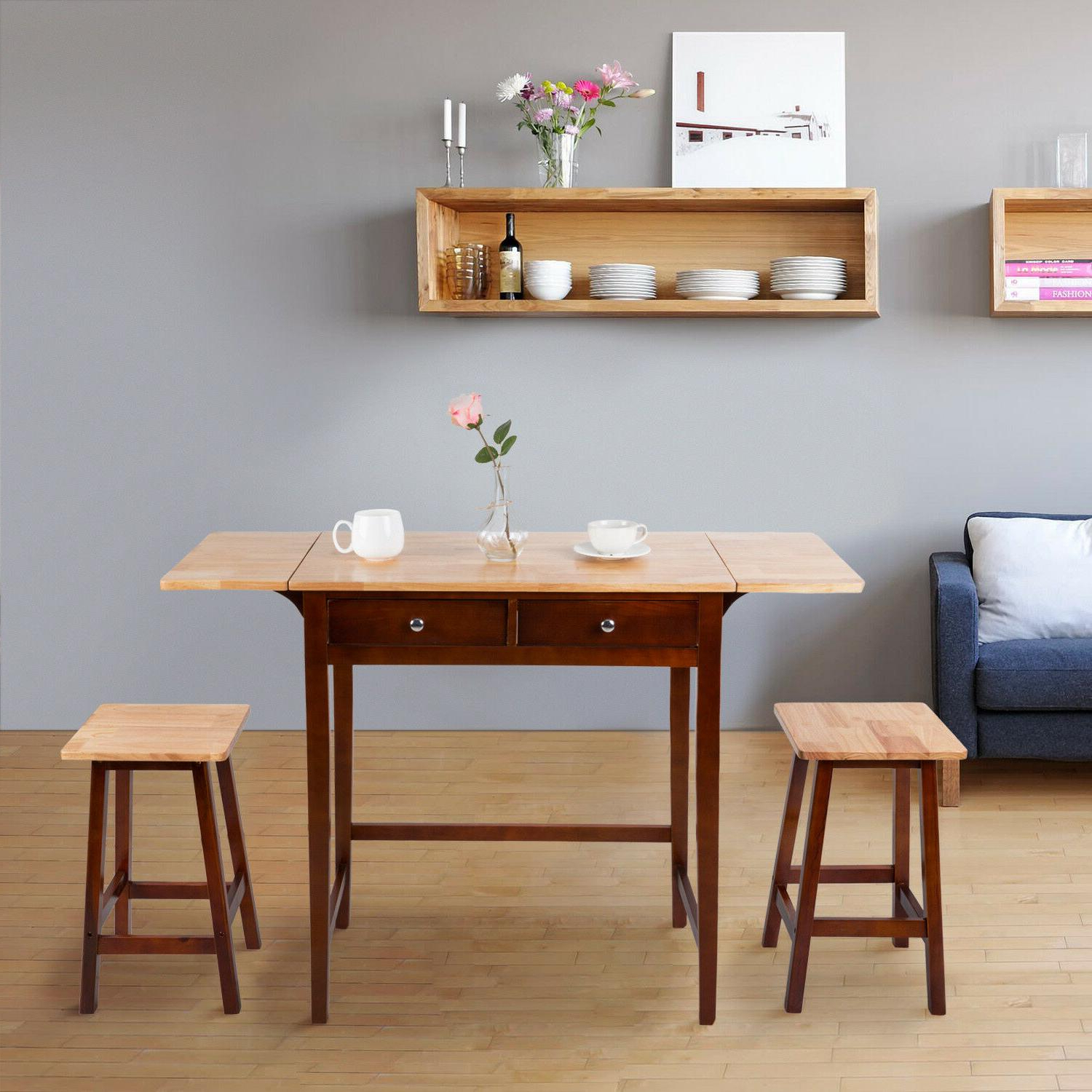 Wooden 3 Piece Table Dining Set Rolling Regarding Latest Ligon 3 Piece Breakfast Nook Dining Sets (View 20 of 20)