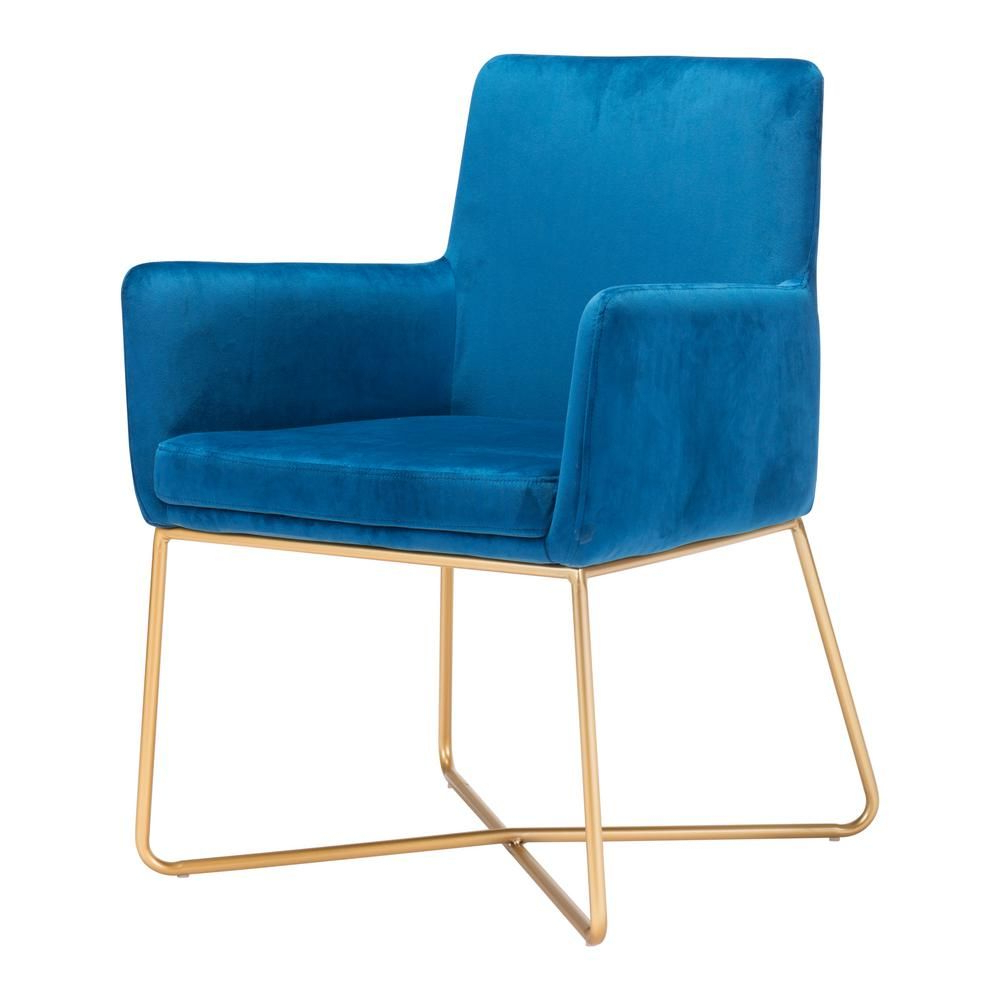 Zuo Honoria Blue Velvet Arm Chair In 2019 (Gallery 13 of 20)