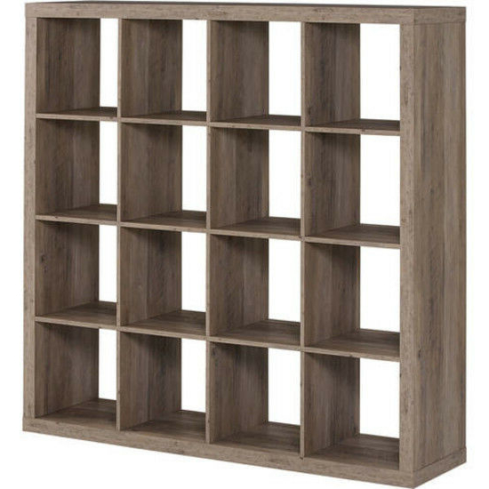 16 Cube Storage Organizer Display Bookcase Wood Living Room Well Built  Rustic Intended For Most Current Decorative Storage Cube Bookcases (Gallery 9 of 20)