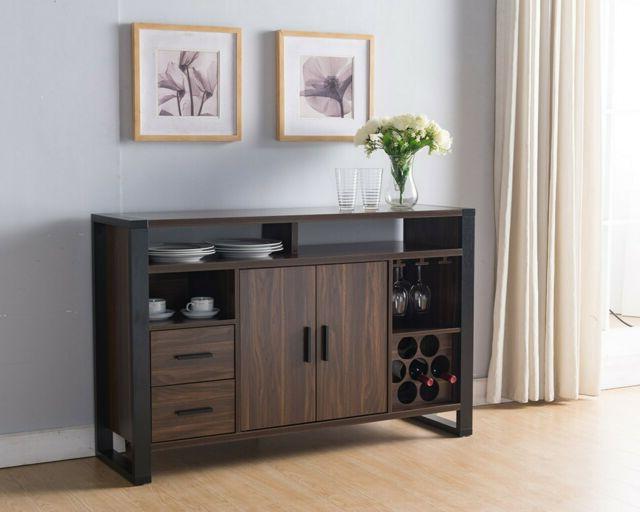 161640 Smart Home Dark Walnut & Black Wine Bar Sideboard Buffet Table Regarding Newest Sideboards By Wildon Home (View 1 of 20)