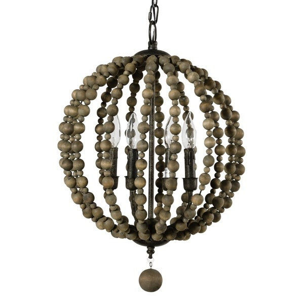 2019 Alden Décor Sequoia Pendant In Wood Beads For Alden 3 Light Single Globe Pendants (View 1 of 30)