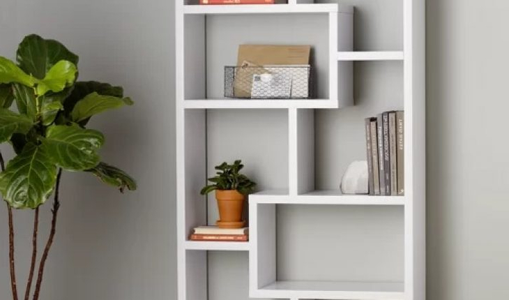 2019 Ansley Geometric Bookcases Regarding Chrysanthos Geometric Bookcasemercury Row Review (View 14 of 20)