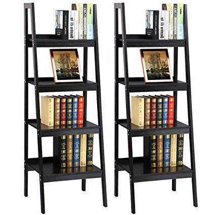 2019 Brock Ladder Bookcases Regarding Topeakmart 4 Shelf Floor Standing Leaning/corner Ladder Shelf Black Wood  Bookcase/bookshelf With Metal Legs/frame (View 1 of 20)
