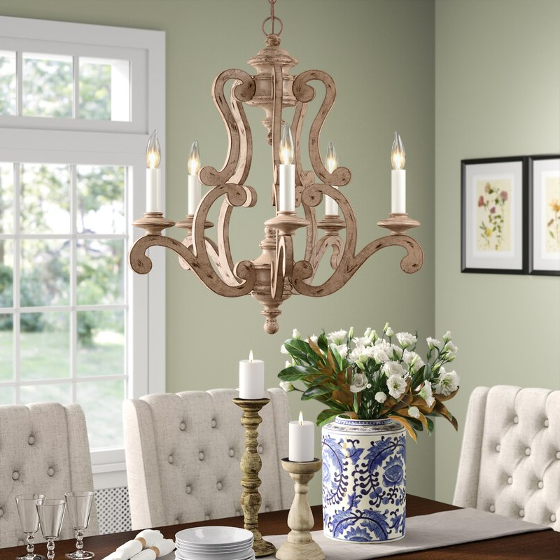 2019 Guglielmo 5 Light Candle Style Chandelier Pertaining To Bouchette Traditional 6 Light Candle Style Chandeliers (View 1 of 30)