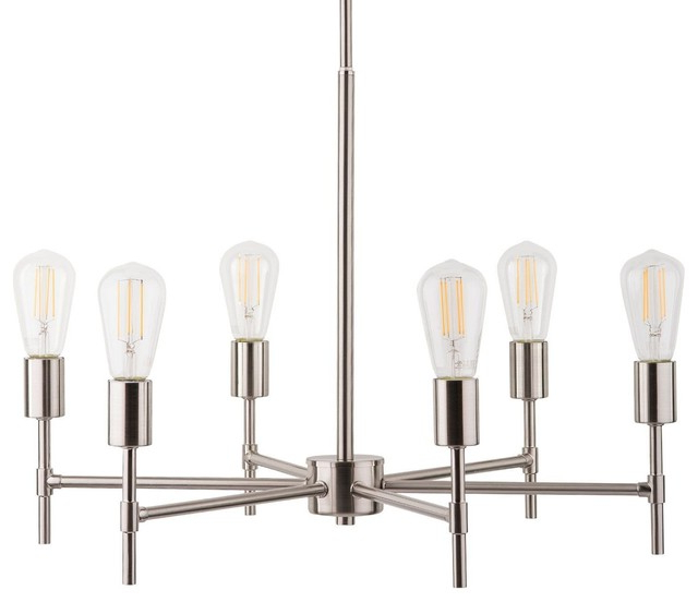 2019 Janette 5 Light Wagon Wheel Chandeliers Regarding Bella Chandelier With Bulb, Brushed Nickel (Gallery 23 of 30)