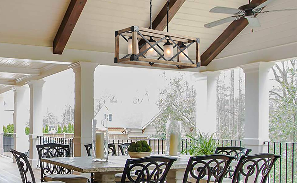 2019 Laluz Wood Kitchen Island Farmhouse Pendant Lighting Hanging Fixture For Dining Room, 4 Glass Globes, A02989 Pertaining To Ellenton 4 Light Rectangle Chandeliers (View 17 of 30)