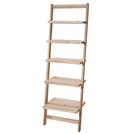 2019 Leandra Ladder Bookcases With Regard To Book Shelf For Living Room, Bathroom, And Kitchen Shelving, Home Décor Lavish Home 5 Tier Decorative Leaning Ladder Shelf Wood Display Shelving (Gallery 16 of 20)