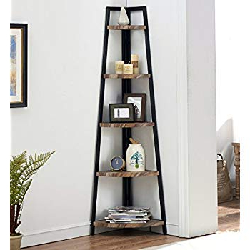 2019 O&k Furniture 5 Shelf Industrial Corner Bookcase And Shelf, A Shaped Display Corner Storage Rack Bookshelf 70 Inch, Vintage Brown Pertaining To Corner Unit Bookcases (View 8 of 20)