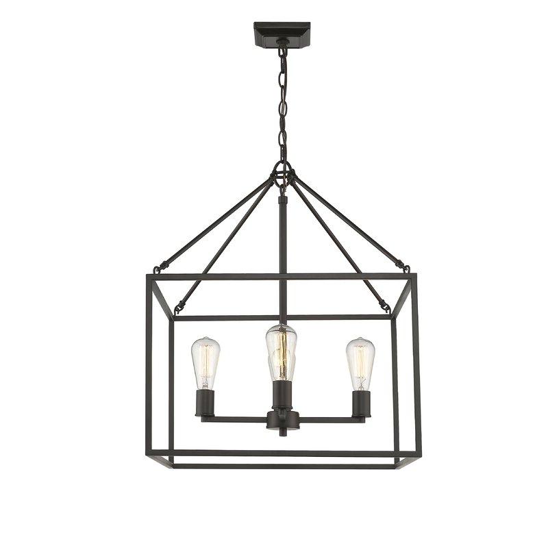 2019 Zabel 4 Light Lantern Square / Rectangle Pendant Pertaining To 4 Light Lantern Square / Rectangle Pendants (Gallery 14 of 30)