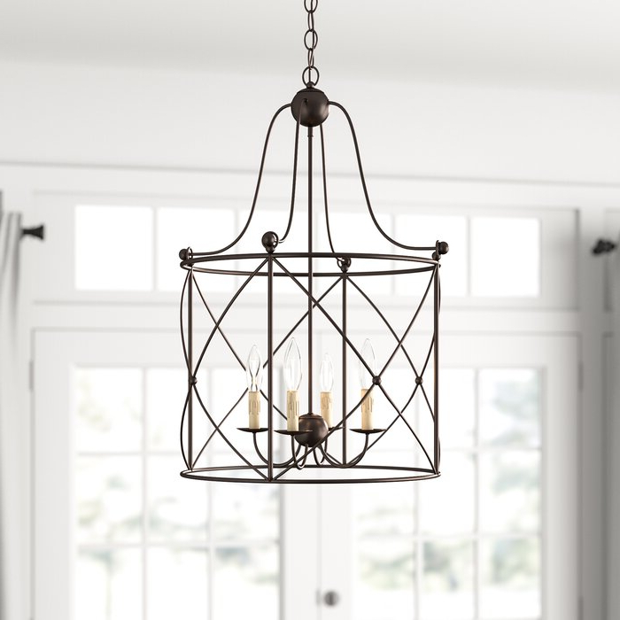 2020 Aniyah 4 Light Lantern Drum Pendant Throughout Nisbet 6 Light Lantern Geometric Pendants (View 17 of 30)
