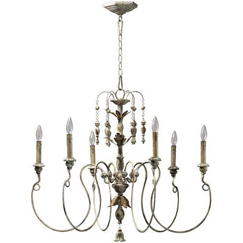 2020 Donna 6 Light Globe Chandeliers Within Quorum International Salento Six Light Persian White Chandelier (Gallery 27 of 30)