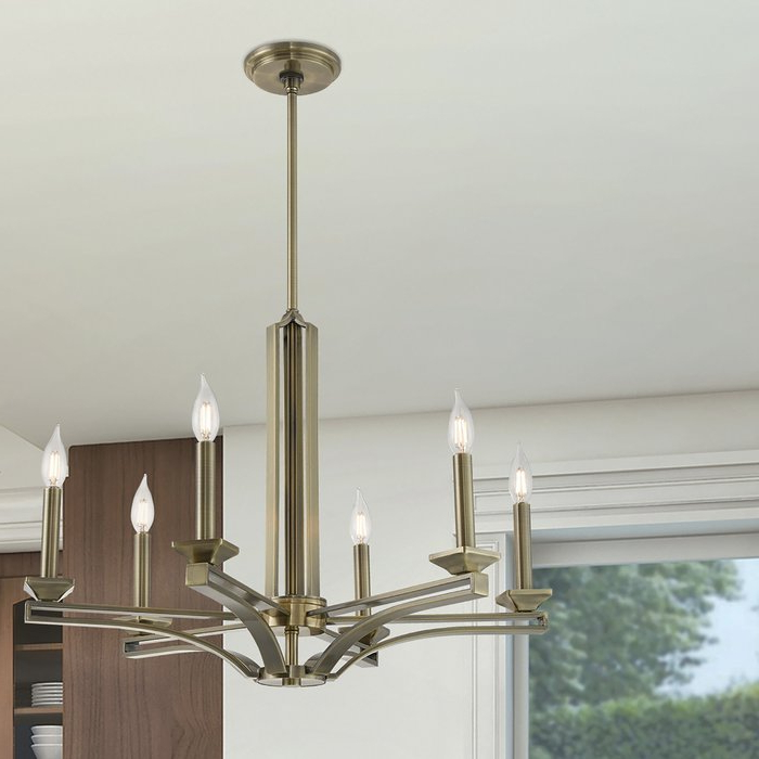 2020 Hesse 5 Light Candle Style Chandeliers Inside Dedham 6 Light Candle Style Chandelier (Gallery 17 of 30)