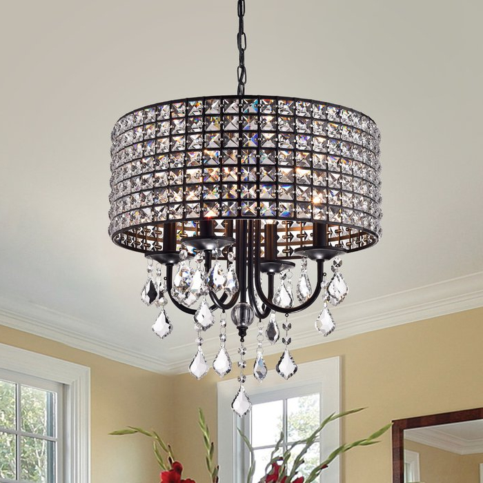 2020 Jill 4 Light Drum Chandeliers For Albano 4 Light Crystal Chandelier (View 6 of 30)