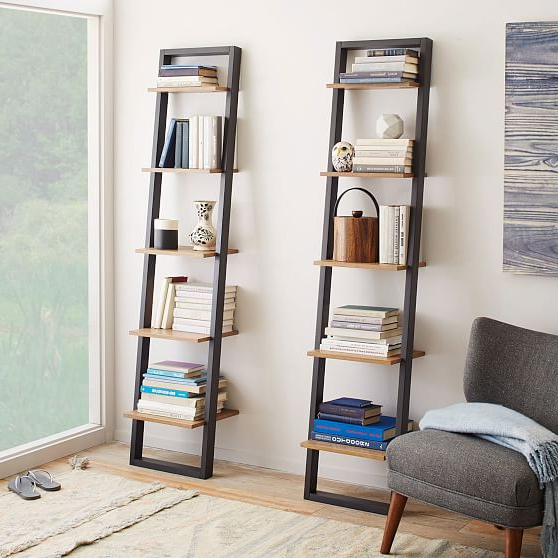2020 Ladder Shelf Storage Narrow Shelf, Basalt Gray/oak At West In Narrow Ladder Bookcases (View 2 of 20)