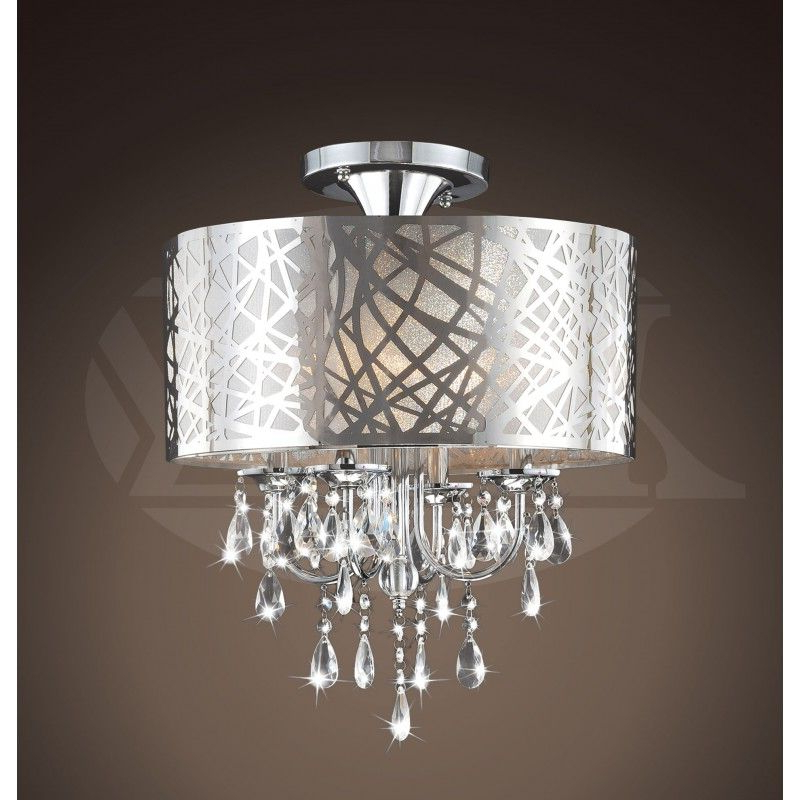 2020 Natalia Chrome And Crystal 4 Light Flushmount Chandelier In Mckamey 4 Light Crystal Chandeliers (Gallery 17 of 30)