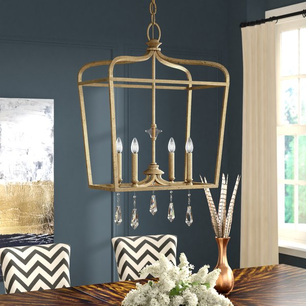 2020 Nisbet 6 Light Lantern Geometric Pendants In Gold Cage Pendant (View 25 of 30)