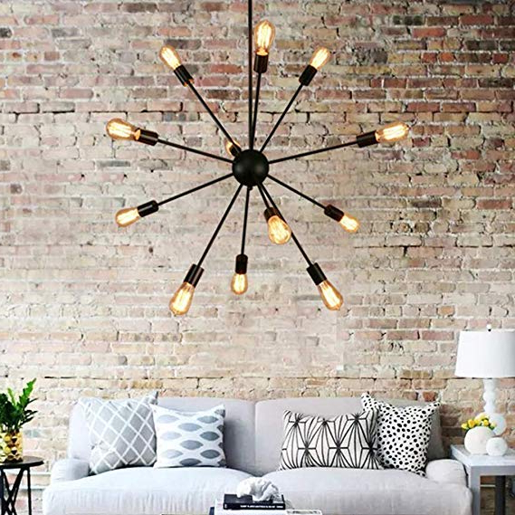 2020 Vroman 12 Light Sputnik Chandeliers In Sputnik Chandelier, Naturous 12 Lights Pendant Lighting, Painted Black Modern Sputnik Light, Ul Listed (View 28 of 30)