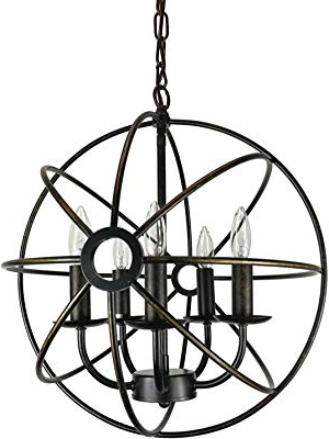2020 Waldron 5 Light Globe Chandeliers For Edvivi Dover 5 Light Oil Rubbed Bronze Sphere Orb Cage Globe (View 2 of 30)