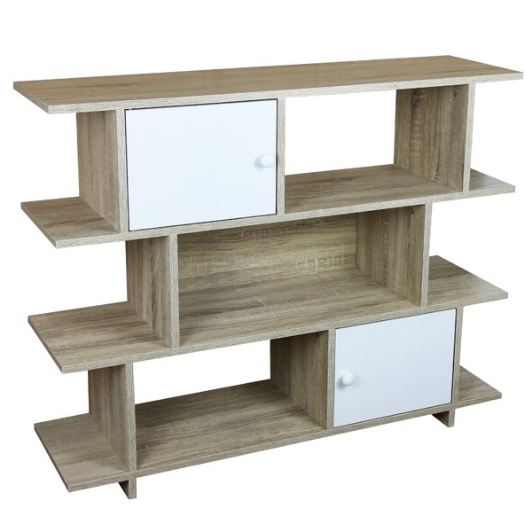 3 Tier Wood Geometric Bookcasehome Basics Pertaining To Favorite Ervin Geometric Bookcases (View 1 of 20)