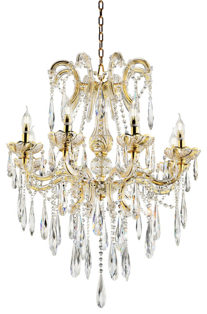 """35"""" Tall """"luminere"""" 8 Led Light Chandelier With Crystals, Matte Gold And  Crystal Pertaining To Best And Newest Donna 4 Light Globe Chandeliers (View 1 of 30)"""