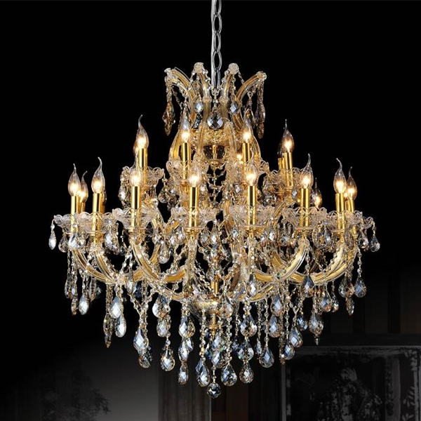 "36"" Maria Theresa Traditional Crystal Round 2 Tier Chandelier Polished Chrome / Gold Plated 25 Lights Throughout Latest Thresa 5 Light Shaded Chandeliers (View 23 of 30)"