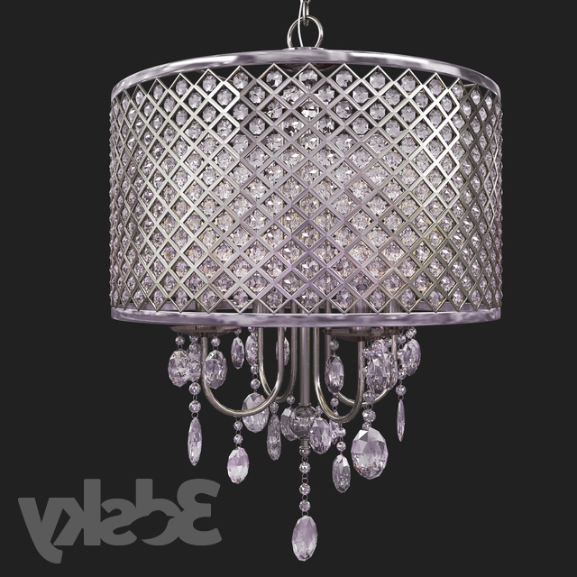 3D Models: Ceiling Light – Suspension Aurore 4 Light Led With Favorite Aurore 4 Light Crystal Chandeliers (View 3 of 30)