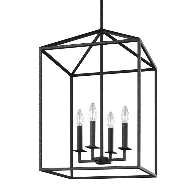 4 Light Lantern Square / Rectangle Pendants Intended For Well Known Odie 4 Light Lantern Square/rectangle Pendant (View 8 of 30)