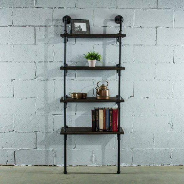 4 Shelf Black Etagere Bookcase Ho0911 – The Home Depot For Popular Kettner Etagere Bookcases (View 13 of 20)