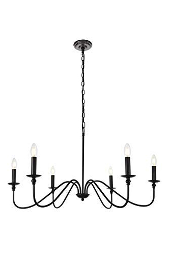 6 Light Chandelier In Matte Black Inside Latest Shaylee 6 Light Candle Style Chandeliers (View 15 of 30)