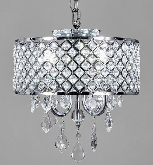 Albano 4 Light Crystal Chandeliers For Famous New Legend Lighting 4 Light Round Crystal Chandelier Chrome (View 23 of 30)