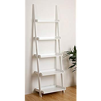 "Alfred Ladder Bookcases Within Fashionable Ehemco 5 Tier Leaning Ladder Book Shelf In White Finish 21 5/8""w X70""h (View 11 of 20)"
