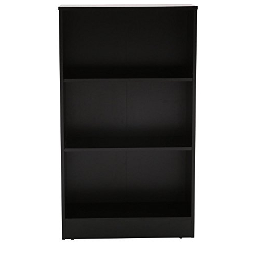 Amazon: 3 Shelf Standard Bookcase In Black: Kitchen & Dining Pertaining To Well Liked Gianni Standard Bookcases (Gallery 15 of 20)