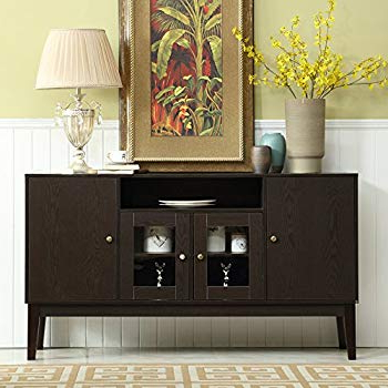 Amazon – Arnwine Brown Finish Sideboard/buffet With 2 Intended For Most Recently Released Weinberger Sideboards (View 3 of 20)