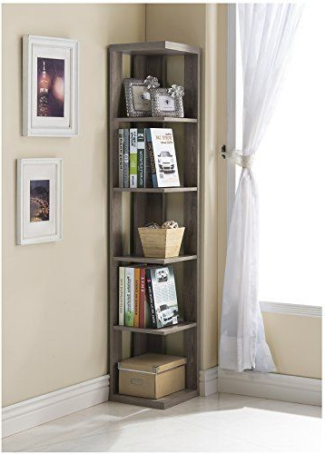 Amazon Price Tracking And History For: Dark Taupe Finish Inside Trendy Corner Bookcases By Hokku Designs (View 4 of 20)
