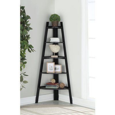 Andover Mills Mari Wood Corner Unit Bookcase Color: Black In With Regard To Best And Newest Mari Wood Corner Bookcases (Gallery 1 of 20)