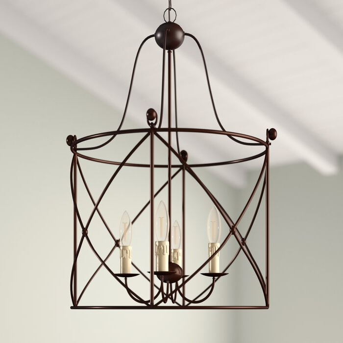Aniyah 4 Light Lantern Drum Pendant With Regard To Well Known Nisbet 6 Light Lantern Geometric Pendants (Gallery 20 of 30)