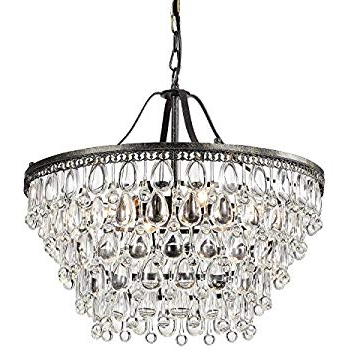 Antique Black 5 Light Crystal Drop Chandelier – – Amazon With Regard To Best And Newest Verdell 5 Light Crystal Chandeliers (View 4 of 30)