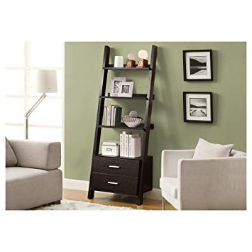 "Antoninus Ladder Bookcases In Preferred Monarch Specialties I 2542 Ladder Bookcase With Two Storage Drawers, 69"",  Cappuccino (View 6 of 20)"