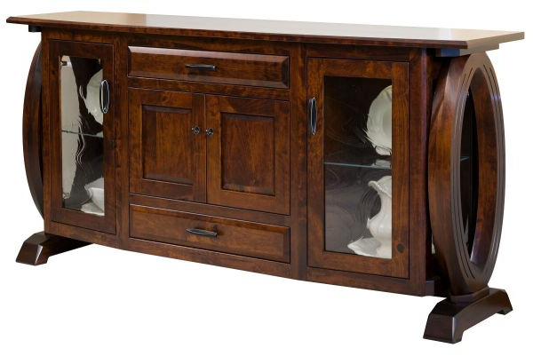 Armelle Sideboards Pertaining To Most Popular Armelle Dining Buffet With Glass Doors – Countryside Amish Furniture (View 3 of 20)