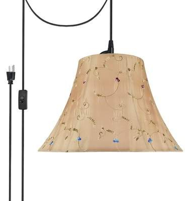 Astoria Grand Pelton Plug In Swag 2 Light Bell Pendant Astoria Grand Regarding Widely Used Aadhya 5 Light Drum Chandeliers (View 11 of 30)