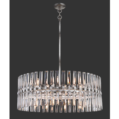 Aurore 4 Light Crystal Chandeliers Inside Recent Metropolitan Lighting Belle Aurore Shadow Silver Leaf 16 Light Pendant (View 7 of 30)