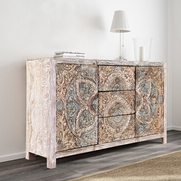 Avenal Floral Mandalas Solid Wood Hand Carved Accent Buffet Cabinet Intended For Fashionable Avenal Sideboards (View 2 of 20)