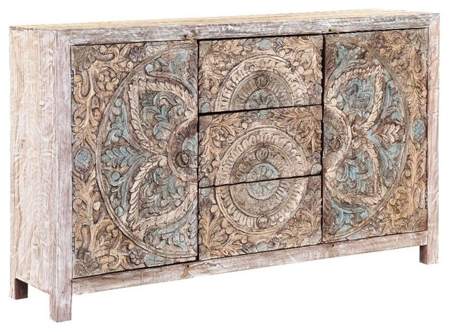 Avenal Floral Mandalas Solid Wood Hand Carved Accent Buffet Cabinet Regarding Widely Used Avenal Sideboards (View 10 of 20)