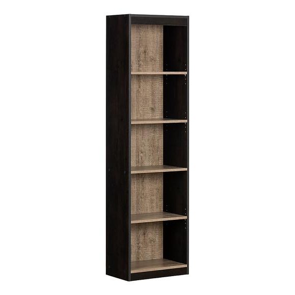 Axess Standard Bookcases For Most Current South Shore Axess 5 Shelf Narrow Bookcase, Weathered Oak And Ebony (Gallery 17 of 20)