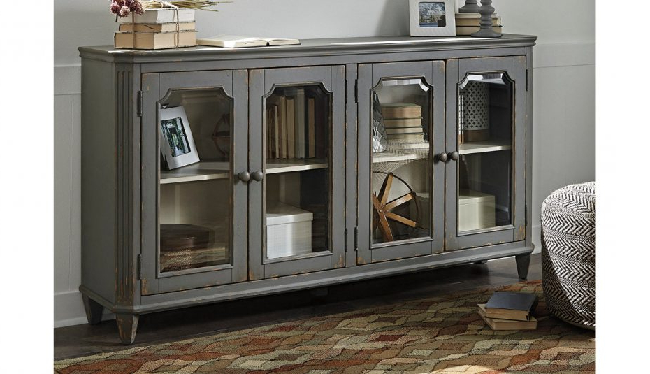 Barn Wood Rosendale Carved Accent Ashley Furniture Glass Within Well Known Kara 4 Door Accent Cabinets (Gallery 15 of 20)