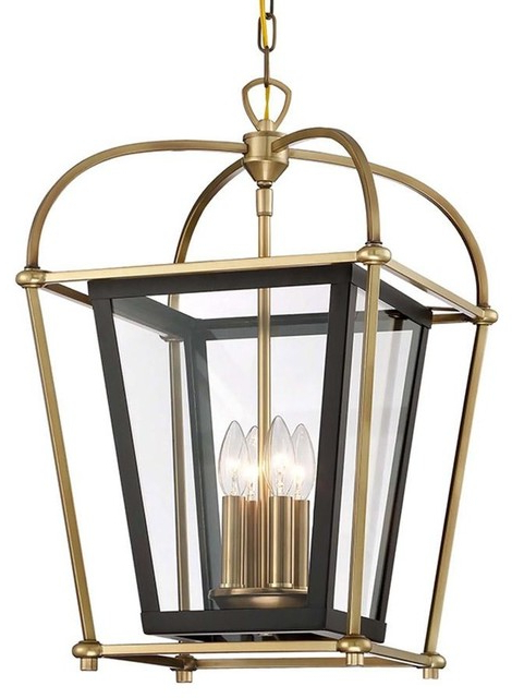 Baron 4 Light Foyer Lantern Chandelier Fixture, Aged Brass And Matte Black With Regard To Fashionable Millbrook 5 Light Shaded Chandeliers (View 4 of 30)